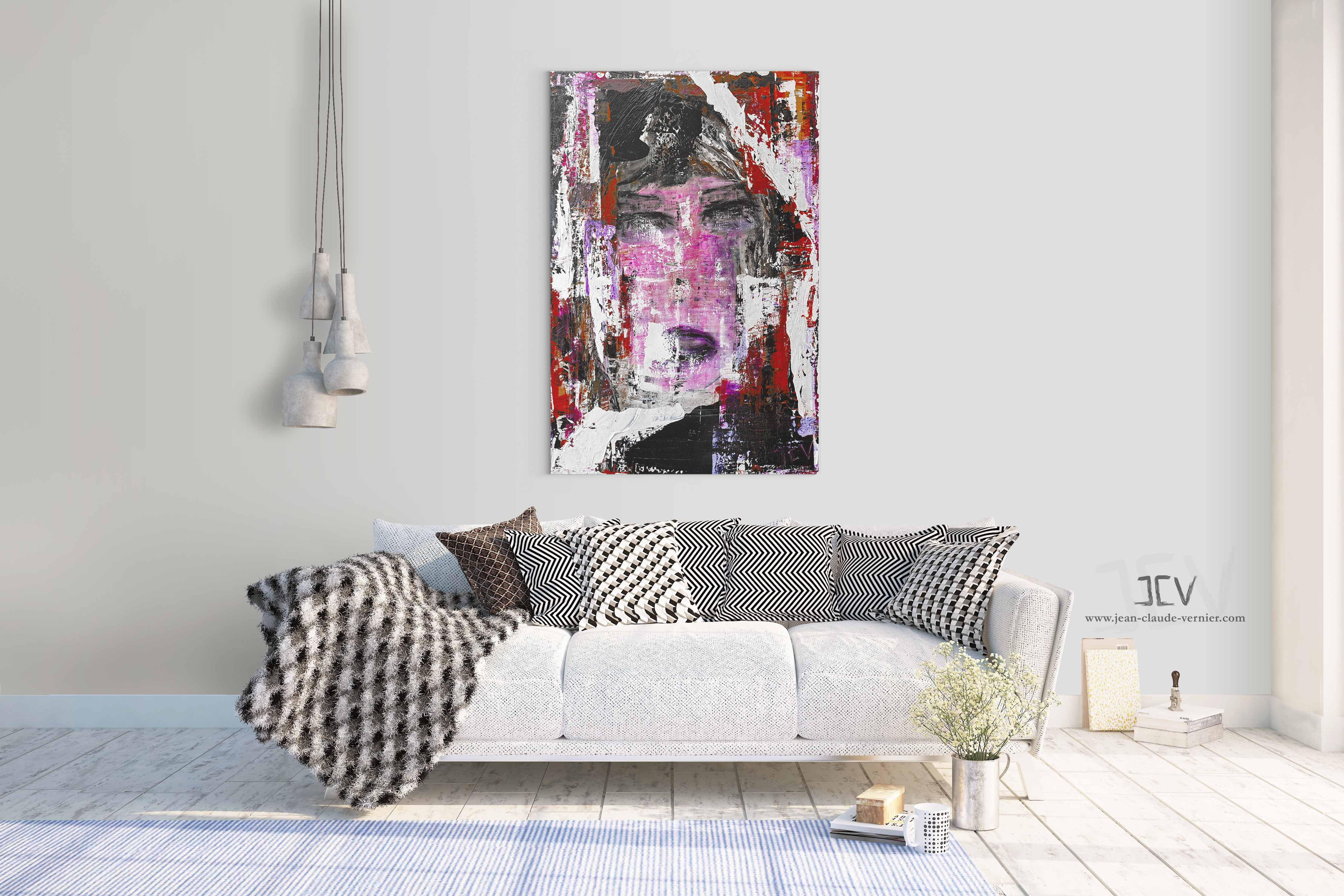 Acheter Pink Ladie, un tableau portrait abstrait et moderne pour votre décoration