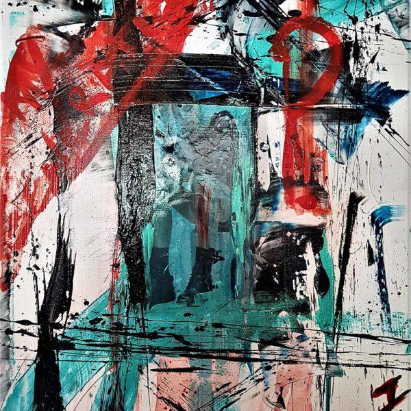 Acheter jeunesse rebelle, une peinture collage abstraite