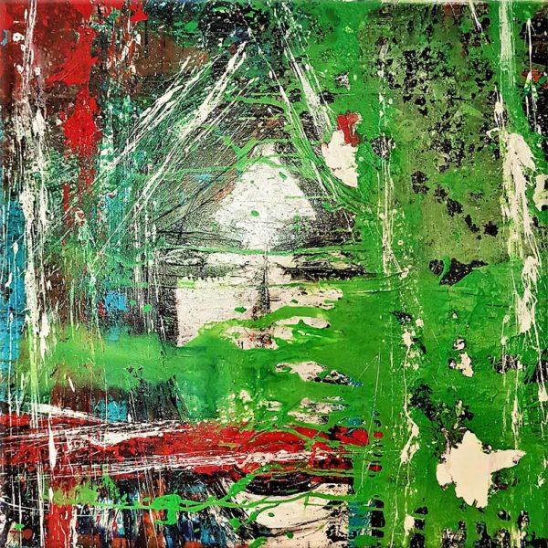Acheter la vague verte, tableau d'un carre d'artiste peintre sur internet