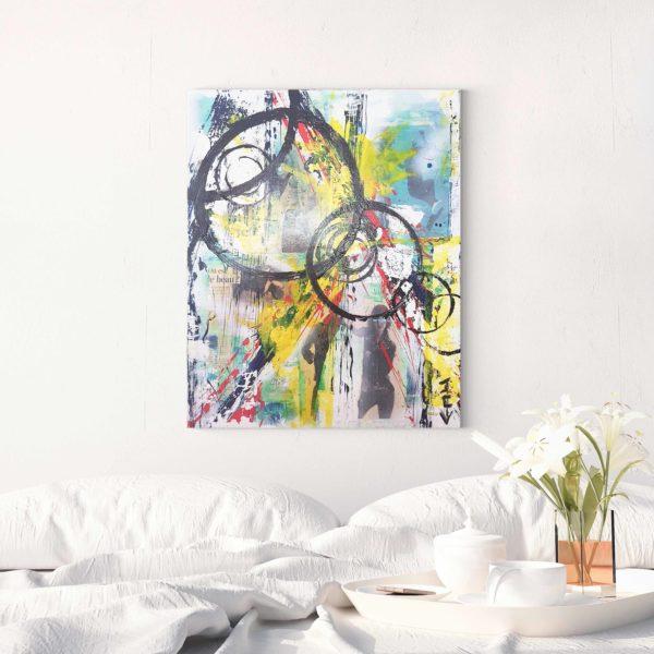 Acheter quadrature du cercle, une peinture collage abstraite