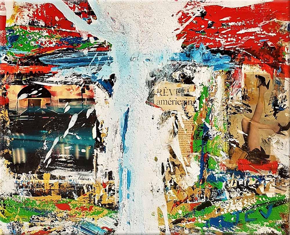 Acheter rêve américain, une peinture collage abstraite
