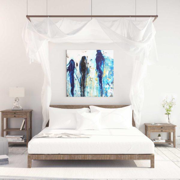 Blue Story peinture abstraite de l'artiste peintre Jean Claude Vernier
